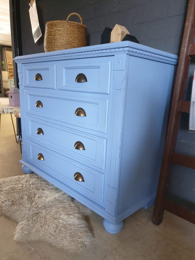 Brocante commmode / ladekast Blue